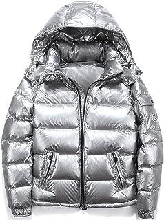ZSYDS Shiny Down Jacket di Inverno degli Uomini Stand Bavero del Cappotto Giubbotto Imbottito con Cappuccio, Due all'apert...