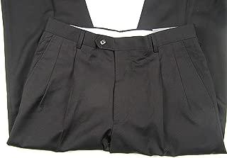 Kirkland Signature Men's Wool Pleated Dress Pant with Cuff 34 x 30 Black