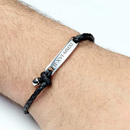 SAME DAY SHIPPING Before 12pm Personalized Bracelet Men Custom Leather Bracelet Engraved Bracelet for Men Inspirational Jewelry Gift Graduation Gift Fathers Day Gift for Him - MRBR