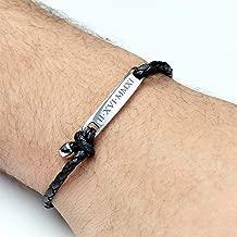 Personalized Bracelet Men Custom Leather Bracelet Engraved Bracelet for Men Inspirational Jewelry Gift Graduation Gift Fathers Day Gift for Him - MRBR