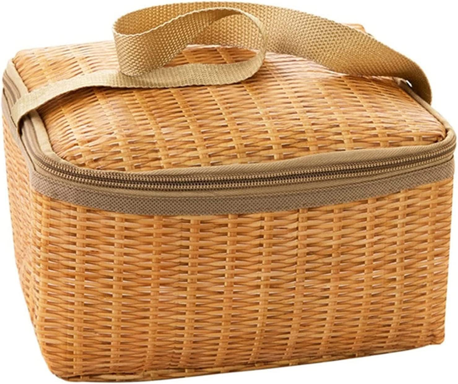 Reusable Lunch Bag Portable NEW before selling Wicker Tab Picnic Superior Outdoor Rattan