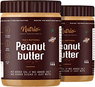 Nutrio 100% Natural Peanut Butter Unsweetened 2KG (Crunchy) || Made with 100% Roasted Peanuts | No Added Sugar | No Added ...