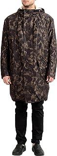 """معطف رجالي بقلنسوة ماركة Hugo Boss """"Maks1841"""" مموه مبطن بالصوف بسحاب كامل US XL IT 54"""