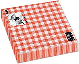 Fun® Trendy 3-Ply Disposable Coloured Printed Paper Napkin Tissue 33x33cm - Orange Checked - Pack of 20
