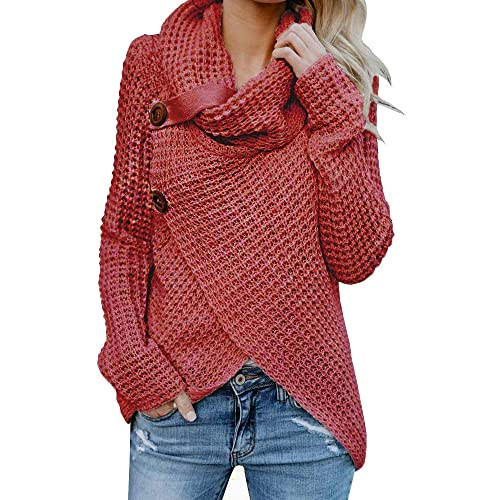 3c998a3cdfc26 Inorin Womens Sweaters Casual Cowl Neck Chunky Cable Knit Wrap Pullover  Sweater