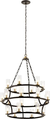 high quality Kichler outlet sale 52110OZ Mathias Chandelier, 21-Light, discount Olde Bronze outlet online sale