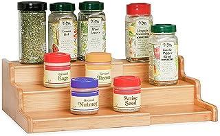 CMXING étagère à épices à 3 Niveaux – Range épices Extensible en Bambou– Rangement de Cuisine pour épices, Condiments,etc....