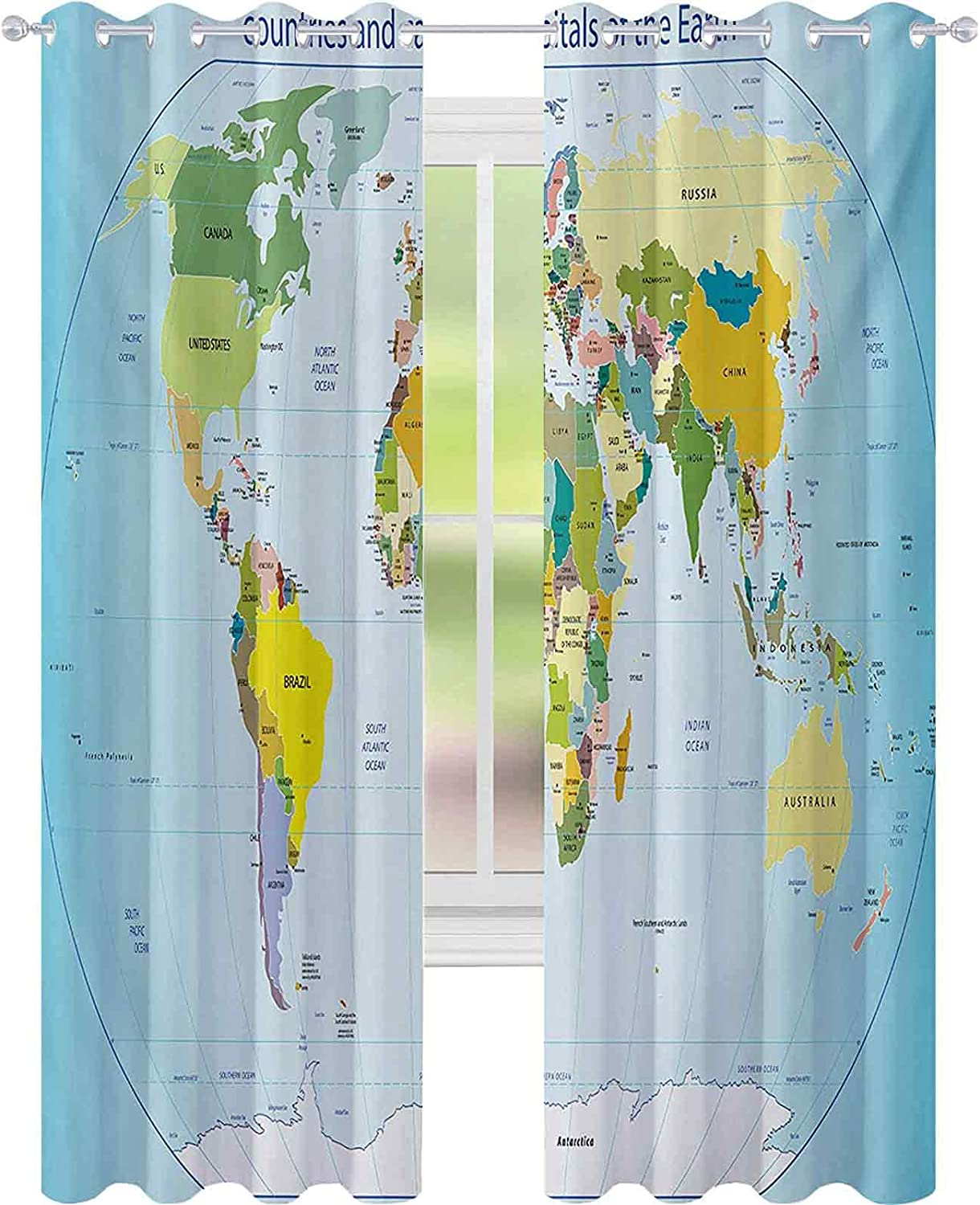 Thermal Insulated Curtains World Map with Max 79% OFF Capital Countries and Cheap super special price