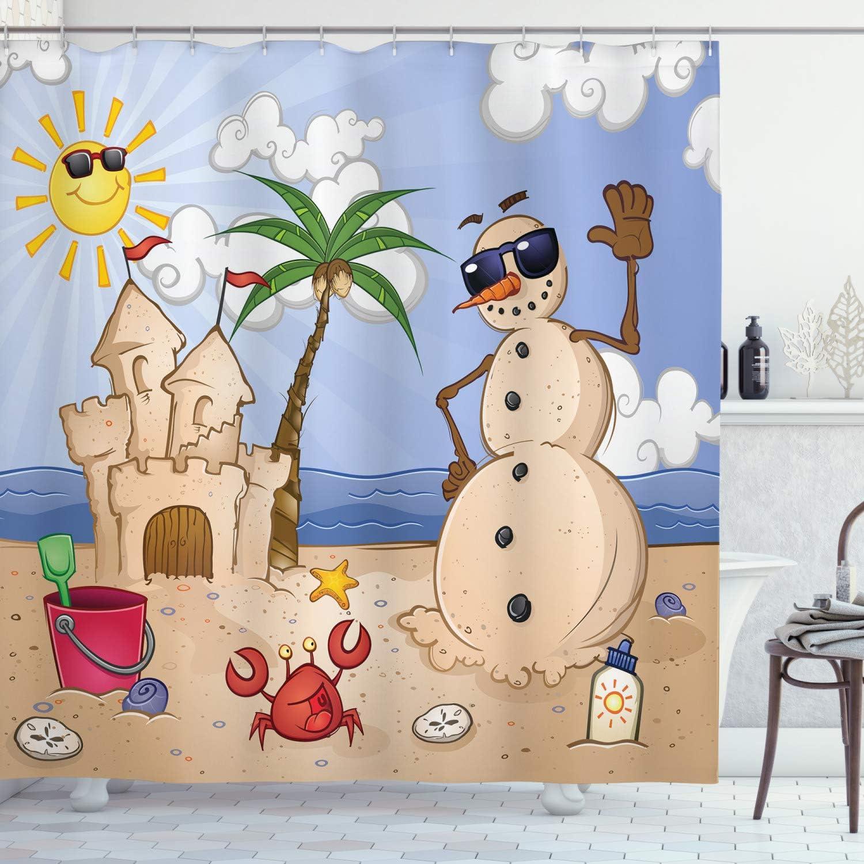 Ambesonne Children Shower Curtain Sand Snowman Castle Crab Seashell On Tropical Beach Enjoying Sun Cartoon Print Cloth Fabric Bathroom Decor Set With Hooks 75 Long Sand Brown Home Kitchen Amazon Com