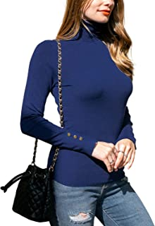 DOUBLJU Women's Long Sleeve Turtle Neck Knit Sweater with Plus Size