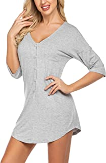 Ekouaer Womens Nightshirt V Neck Boyfriend Sleepwear Shirts Loose Sleeve Button Sleep Tee S-XXL