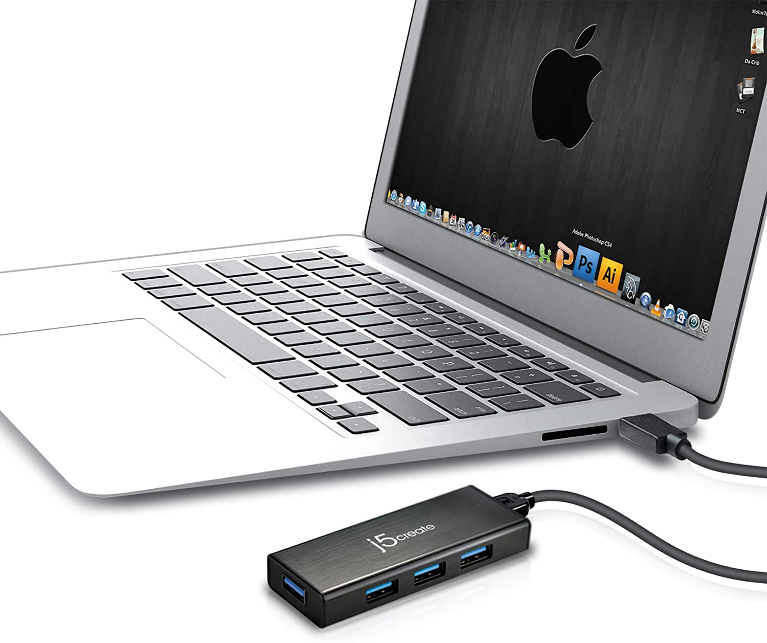 j5create 4-Port Powered USB 3.0 Data Hub with 2 ft Extended Cale [15W Power Adapter Included] for Mac, MacBook, Windows, Laptop, Surface, XPS, PC (JUH340)