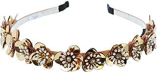 Beautiful Elegant Small Sequin Flower Headband For Girls & Women-Gold