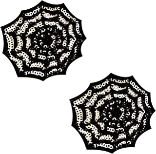 Neva Nude Sequin Creepy Blacklight Spider Web Nipztix Pasties Nipple Cover