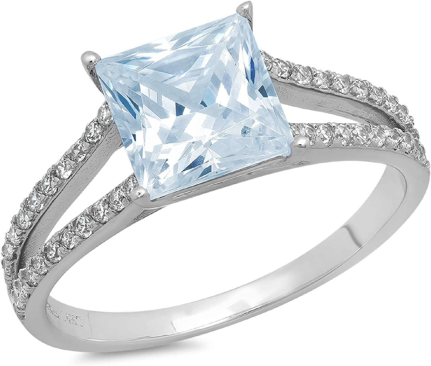 2.42 ct Princess Cut Solitaire with Accent split shank Natural Topaz Gem Stone Ideal VVS1 Engagement Promise Statement Anniversary Bridal Wedding Ring 14k White Gold
