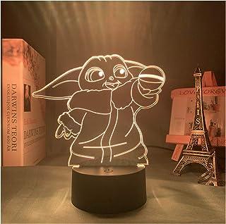 3D Baby Yoda Figuur Lamp, LED Nachtlampje Decor voor Thuis Slaapkamer Kantoor, Cadeaus voor Kinderen Vrienden (16 Kleuren ...