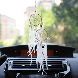 Boseen Dream Catchers Car Interior Rearview Pendant, Feather Adjustable Chain Double Dreamcatcher Car Charm Handmade Metal Chain Dream Catcher Pendant with Pearls for Hanging Decoration White (White)