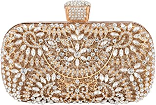 Your only brother Women's Luxury Diamond Crystal Dinner Bag Square Chain Shoulder Messenger Bag Wedding Gift Bride Bridesmaid Dress Clutch Bag Wallet Size: 19 * 6 * 12.5cm (Color : Gold)