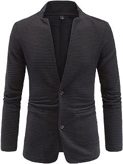 Mens Jacket Fashion Casual Contrast Black Slim Fit Collarless Blazer Coat Outwear