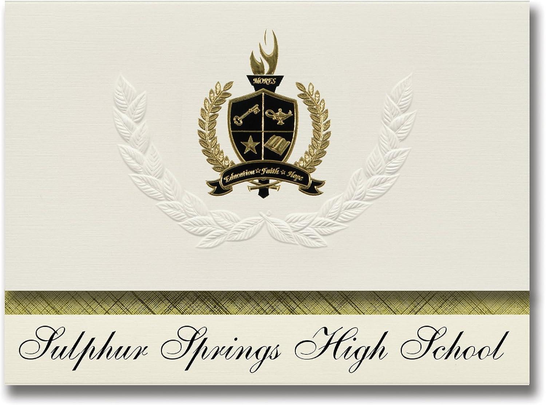 Signature Announcements Sulphur Springs High School (Sulphur Springs, TX) Schulabschlussankündigungen, Presidential-Elite Pack 25 mit Goldfarbenen und schwarzen metallischen Folienversiegelung B078VDSK4P   | Angenehmes Gefühl