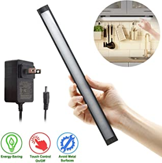 LED Under Cabinet Lighting, Under Counter Lighting with 33 LEDs and Touch Activated Plug-in LED Light Bar for Kitchen, Cupboard, Shelf, Closet (Warm Light 3000K)