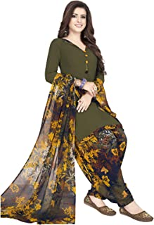 Ishin Synthetic Green & Multicolor Printed Unstitched Salwar Suits Dress Material with Dupatta