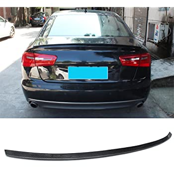 for AUDI A6 C7 Sedan car rear trunk lip spoiler wing carbon fiber S type