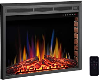 """R.W.FLAME 36"""" Electric Fireplace Insert,Freestanding & Recessed Electric Stove Heater,Touch Screen,Remote Control,750W-1500W with Timer & Colorful Flame Option"""