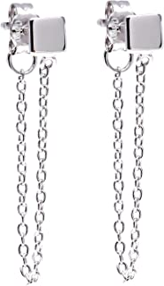 Sterling Silver Square with Hanging Chain Earrings