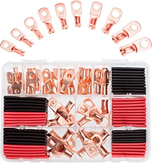RockDIG 50 pcs AWG 8/6/4/2 Heavy Duty Bare Copper Lugs, Closed End Tubular Ring Terminals, Battery Electrical Cable Wire Connectors Assortment Kit(with 50 pcs Heat Shrink Tubings)