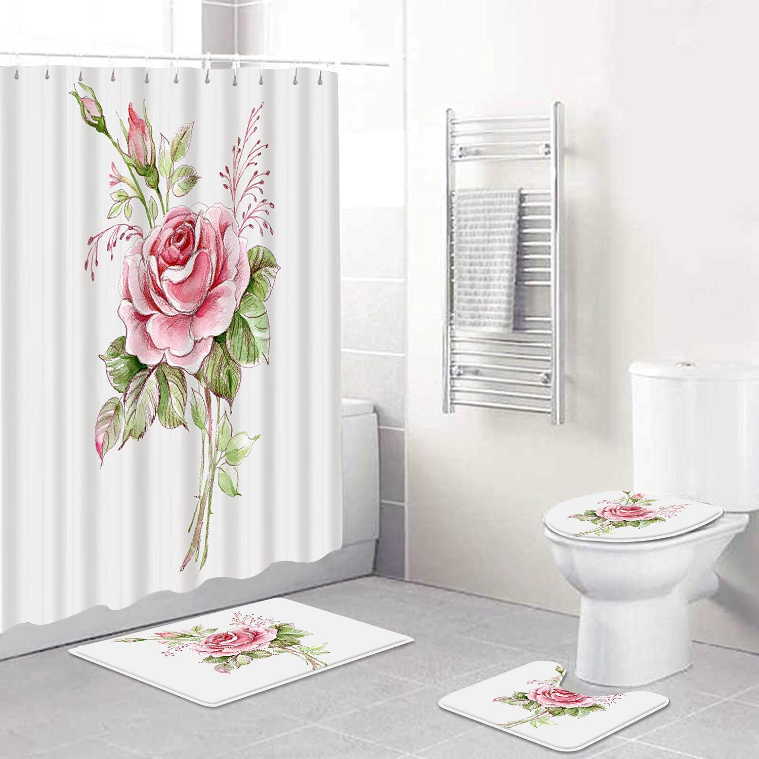 AIRMARK 4 Pcs Shower Curtain 2021new shipping free Sets Toilet Rugs Save money Lid Non-Slip with