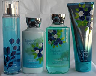Bath & Body Works Signature Collection Juniper Breeze Gift Set ~ Body Lotion, Body Cream, Body Wash & Fragrance Mist. Lot of 4