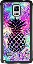 Case for Samsung Galaxy Note 4, Mandala Space Pineapple Anti-Scratch Hard Backplate Back Cover for Samsung Galaxy Note 4 Black Shock-Proof Protective Case [Anti-Slippery]