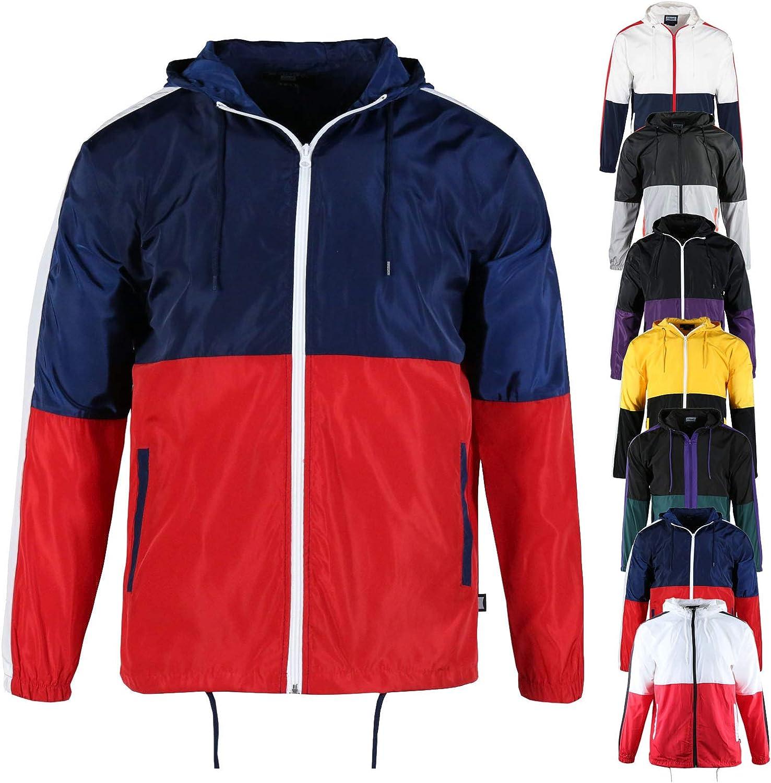 TWain Men's Sports Water Resistant Windbreaker Running Workout Lightweight Full Zipper Jackets