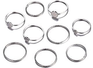 SOTOLAN 9-14 PCS Midi Rings Knuckle Stacking Multi Size Comfort Fit Gold/Silver Ring Set for Women