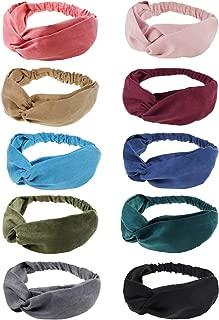 10 Pack Boho Headbands for Women Girls Criss Cross Elastic Hair Band Twisted Head Wrap