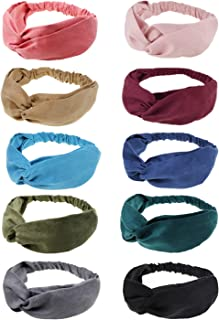 DRESHOW 10 Pack Boho Headbands for Women Girls Criss Cross Elastic Hair Band Twisted Head Wrap