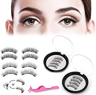Acelane Magnetic Eyelashes 3 Magnets Full Eye Lashes 3D Reusable Lash Extension No Glue No Irritation Handmade with Applicator for Daily Dating Party (3 Magnets, 4 Magnets, 8pcs with Tweezers)