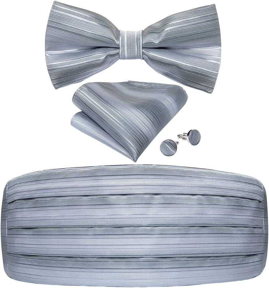 NJBYX Men's Tuxedo Cummerbund Gray Silk Striped Bow Tie Handerchif Cufflinks Set Wedding Party Cummerbunds Waist (Color : Gray, Size : One size)