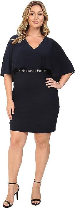 Plus Size Wide Band Matte Jersey Capelet Sheath Dress