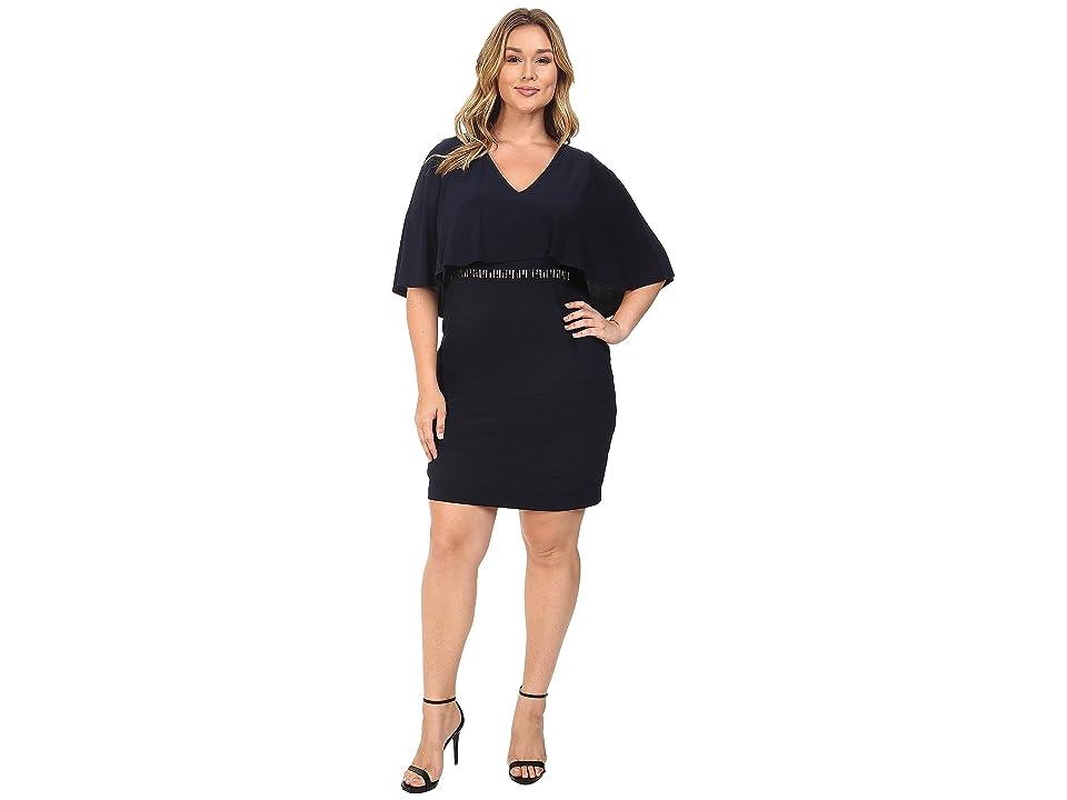 Adrianna Papell Plus Size Wide Band Matte Jersey Capelet Sheath Dress (Eclipse) Women