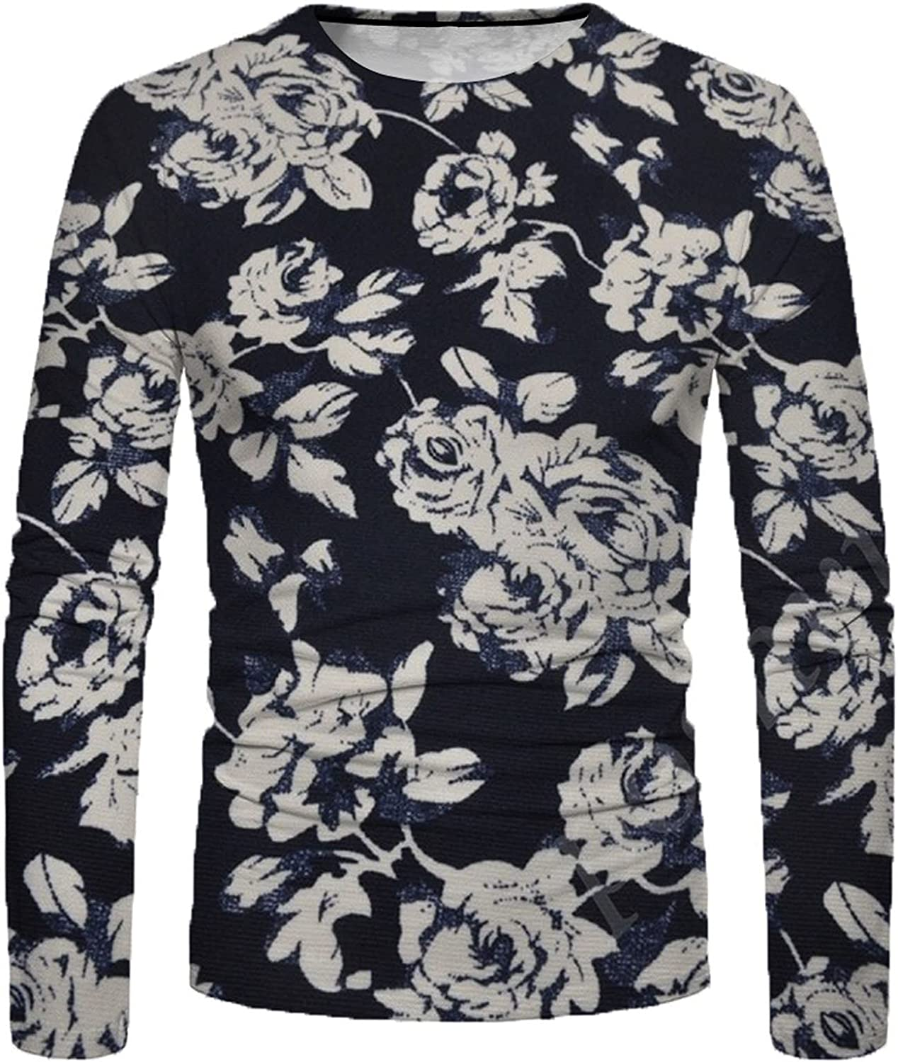 Huangse Fashion Long Sleeve for Men Floral Printed Tees Shirt Vintage Blouse Casual Workout Muscle Athletics Sportswear