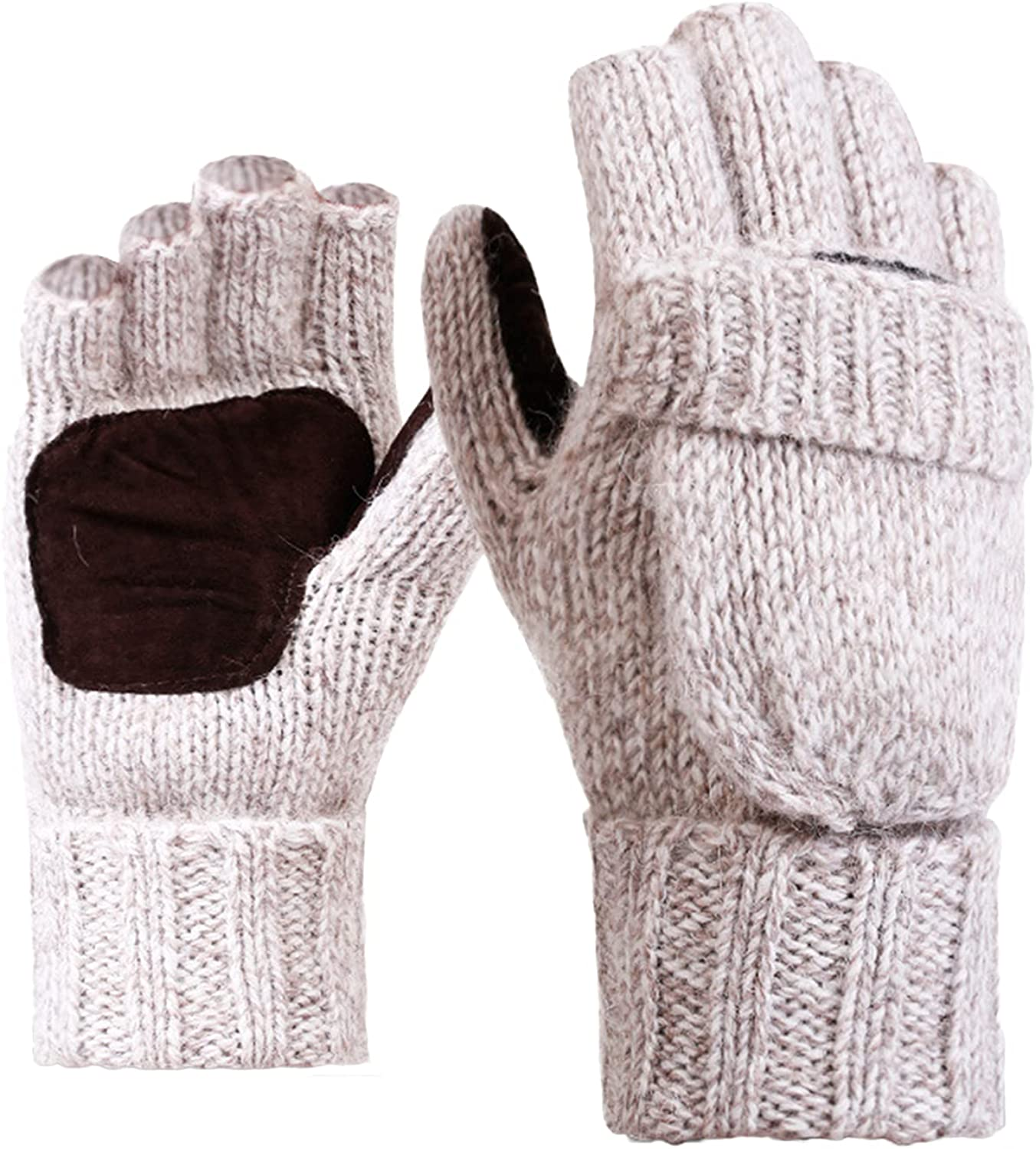 Rehomy Winter Knitted Fingerless Gloves Woolen Thermal Insulation Convertible Mittens Flap Cover for Women and Men