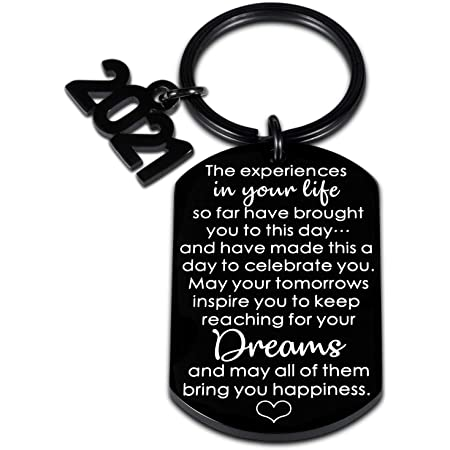 Engraved and Personalized Free Cap Design Senior Graduation Keychain Gift Class of 2021
