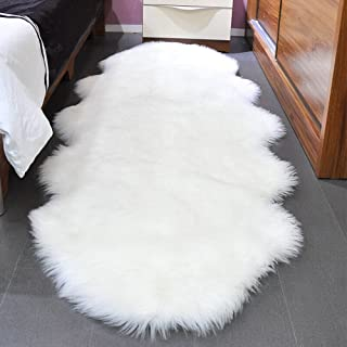 Noahas Faux Sheepskin Area Rugs Silky Long Wool Carpet for Living Room Bedroom, Children Play Dormitory Home Decor Rug, 2ft x 6ft White