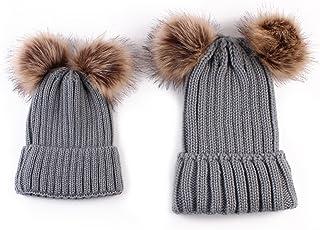 ROSEBEAR Bonnet d'hiver Assorti à La Famille Bonnet Mère/Bébé Bonnet en Laine Tricoté Bonnet Au Crochet Chaud (Gris)