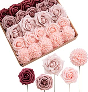 Ling's moment Burgundy Dusty Rose Artificial Flowers Ombre Box Set (24pcs) - Realistic Fake Floral with Stem for DIY Weddi...
