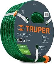 """Truper MAN-20X1/2RE, Manguera armada reforzadas 3 capas, conexiones plásticas, 1/2"""", 20 m"""