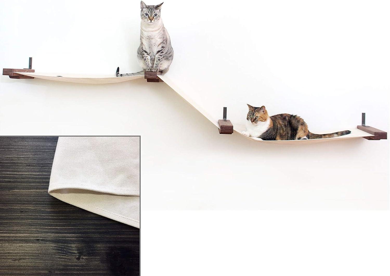 CatastrophiCreations Fabric Raceway MultipleLevel Hammock Lounge WallMounted Cat Shelving, Onyx Natural, Large