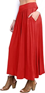 Fashion California FACA Womens High Waist Shirring Maxi Skirt Ankle Length with Pockets (S-XXXL)